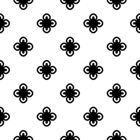 Vector zwart-wit naadloze patroon, oude vintage stijl. Eenvoudige bloemen geometrische textuur met zwarte cirkelbloemen op witte achtergrond. Abstract herhaal minimalistische achtergrond. Ontwerp voor afdrukken, decor Vector Illustratie