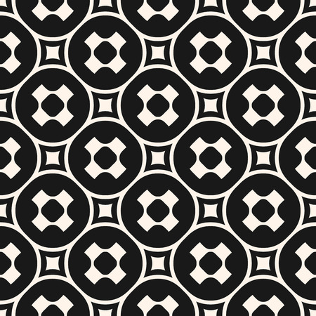 furniture: Vector seamless pattern, stylish monochrome geometric texture with smooth perforated shapes, crosses, circles, squares.