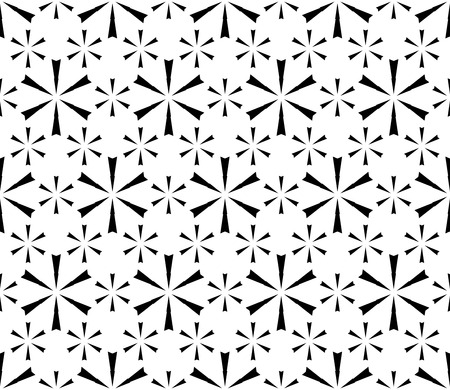 grid: Vector seamless pattern. Modern subtle black & white texture. Simple geometric floral figures, snowflakes. Endless repeat minimalist abstract monochrome background. Design for decoration, prints, web