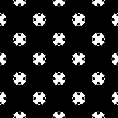 Vector monochrome seamless pattern, simple dark geometric texture with octagonal shapes, black