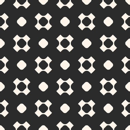 grid: Vector seamless pattern, simple geometric texture with rounded shapes, circles, perforated crosses in staggered array. Dark abstract minimalist background. Design element for prints, covers, digital Illustration