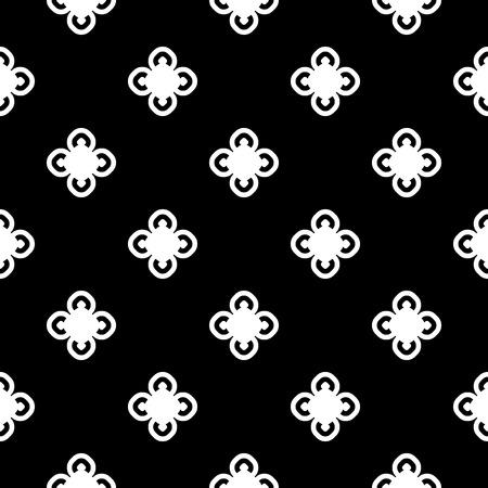 ベクトルのモノクロのシームレスなパターン、古いビンテージ スタイル。黒い背景に白い円形花を持つ単純な花幾何学的なテクスチャーを。