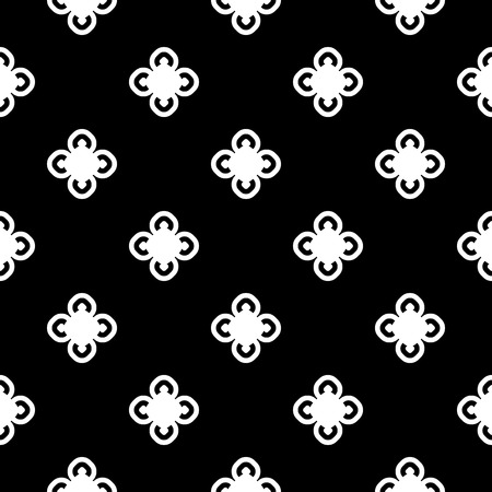 Vector monochrome seamless pattern, old vintage style. Simple floral geometric texture with white circular flowers on black background.