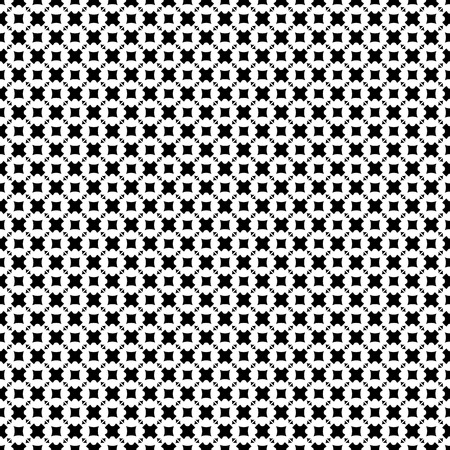 versatile: Vector seamless pattern, abstract monochrome geometric background. Simple black & white figures, crosses, triangles, rhombuses, squares. Repeat tiles. Design element for decor, fabric, print, wrapping Illustration