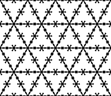 Vector monochrome texture, black & white geometric seamless pattern. Illustration of barbed wire, triangular grid, carved shapes. Abstract design for decor, prints, textile, cover, furniture, fabric Illustration