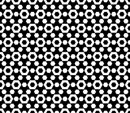 perforation: Vector monochrome seamless pattern. Simple dark geometric texture with hexagonal shapes. Repeat tiles, endless wallpaper. Black