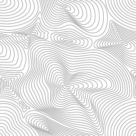 Vector monochrome seamless pattern, curved lines, black & white layered texture. Abstract dynamical rippled surface, visual halftone 3D effect, illusion of movement. Modern design for tileable print