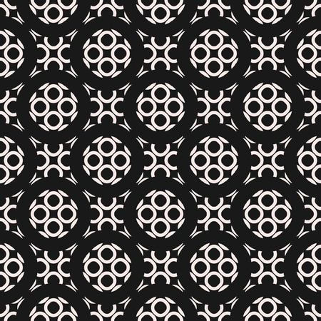perforation: Monochrome ornamental seamless pattern. Vector abstract geometric texture, circular lattice, rounded mesh. Elegant dark repeat mosaic background. Design element for prints, decor, textile, cloth, web