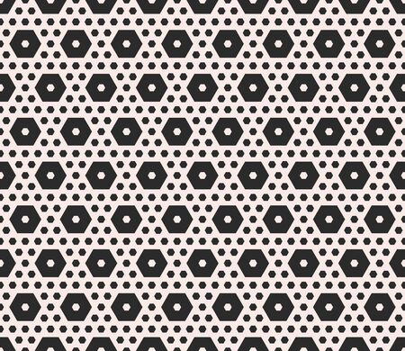 perforation texture: Vector monochrome texture, geometric seamless pattern with different sized hexagons, perforated shapes, honeycombs, hexagonal grid. Modern abstract background. Design element for prints, textile, web
