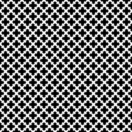 Vector naadloos patroon. Eenvoudige zwart-witte geometrische textuur. Eindeloze sierachtergrond, retro gotische stijl. Symmetrische vierkante abstracte achtergrond. Herhaal tegels. Ontwerp voor prints, textiel, stof