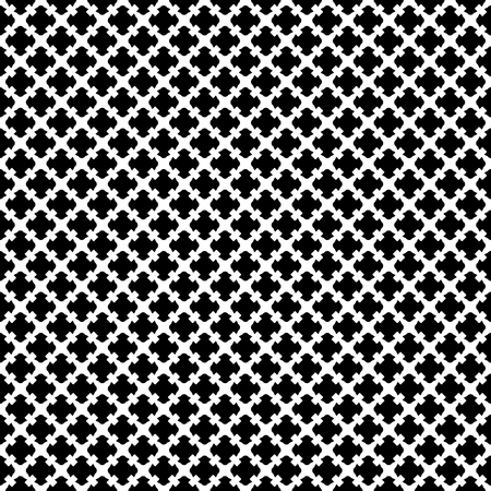 Vector seamless pattern. Simple black & white geometric texture. Endless ornamental background, retro gothic style. Symmetric square abstract backdrop. Repeat tiles. Design for prints, textile, fabric