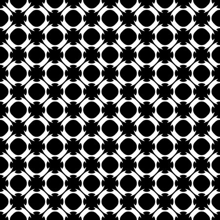 Vector monochrome seamless pattern. Abstract black & white texture, simple geometric figures, smooth lines, circles, repeat tiles. Endless background. Design for decoration, print, furniture, textile
