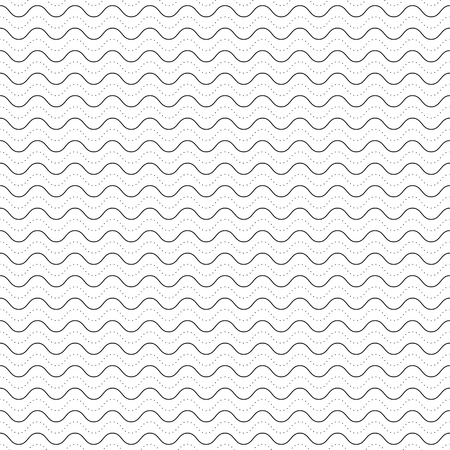 Vector monochrome texture, subtle geometric seamless pattern, horizontal thin wavy lines, dots, bends. Abstract minimalist black & white background. Stylish design for prints, decor, textile, digital
