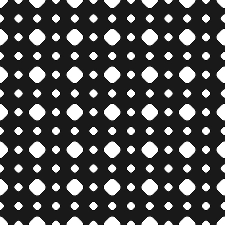 sized: Polka dot seamless pattern, vector subtle texture. Abstract monochrome background with different sized white circles on black backdrop. Geometric grid. Dotted design element for prints, decor, paper