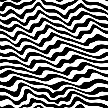 Vector monochrome texture, black & white seamless pattern with abstract curved lines. Visual effect of 3D surface, illusive background. Dynamical rippled wavy stripes. Stylish design, pop art style