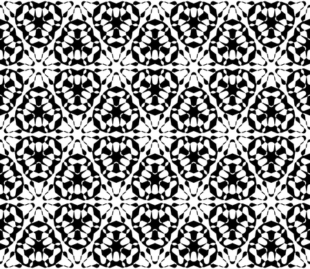 specular: Vector monochrome texture, abstract black & white ornamental background. Illustration of lattice, floral figures, repeat tiles. Smooth geometric seamless pattern. Design for print, decor, digital, web