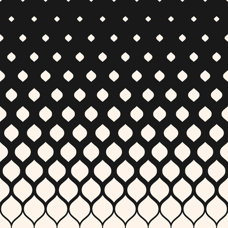 Vector halftone pattern, monochrome geometric texture, visual transition effect, vertical falling rounded shapes. Modern stylish abstract background. Design element for prints, decor, digital, covers