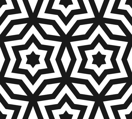 Vector seamless pattern, black & white ornament texture with linear stars, angular geometric figures. Abstract geometric monochrome background, repeat tiles. Contrast design for prints, decor, fabric Illustration