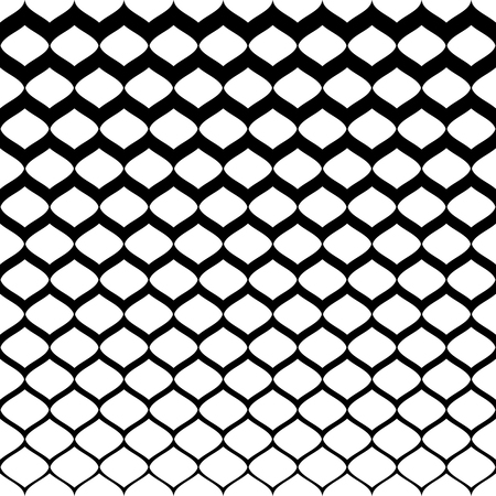 Halftone seamless pattern, vector monochrome texture with gradient transition effect from black to white. Illustration of mesh with gradually thickness. Abstract background. Design for prints, covers