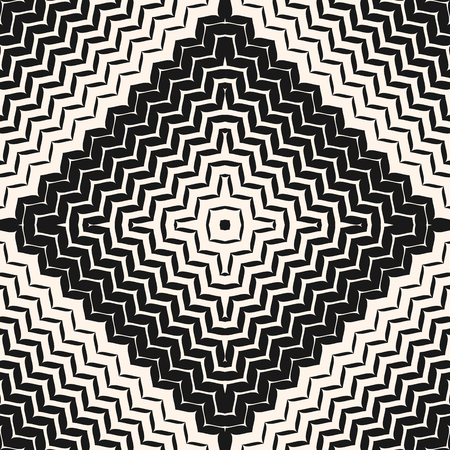 Vector halftone seamless pattern. Diagonal zigzag lines in square form. Abstract monochrome geometric background texture with gradient transition effect. Design for decor, fabric, textile, package Vector Illustration