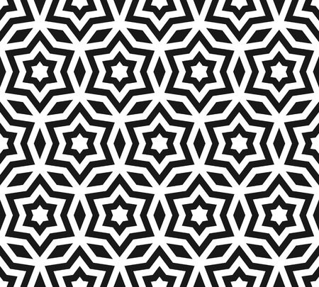 Vector seamless pattern, black & white ornament texture with linear stars, angular geometric figures. Abstract geometric monochrome background, repeat tiles. Design element for prints, wrapping, cloth