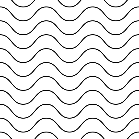 Horizontal thin wavy lines vector seamless pattern. Subtle monochrome background, simple black & white geometric repeat texture with delicate waves. Design element for decoration, print products, web