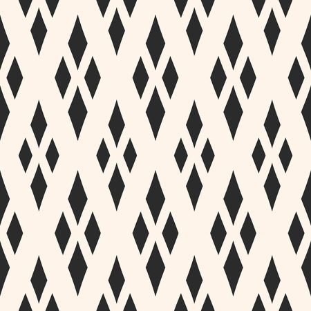 Vector geometric texture with rhombuses. Diamonds seamless pattern. Abstract monochrome ornamental background, traditional motif, argyle pattern. Design for decor, fabric, furniture, textile, pillows Stock Vector - 86814126