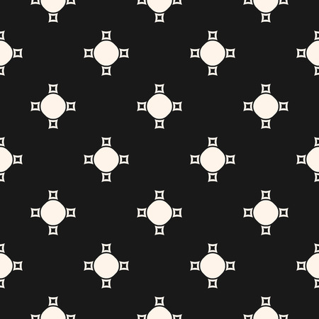 Vector monochrome seamless texture, abstract geometric pattern with simple figures, crosses, circles, smooth perforated squares. Stylish dark background, repeat tiles. Design for prints, decor, cover