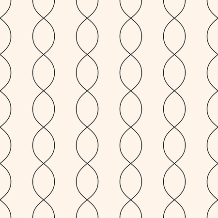 Vertical wavy lines seamless pattern. Subtle abstract geometric background. Minimalist endless texture. Thin curved lines, chains, DNA. Delicate monochrome design element for textile, fabric, prints Illustration