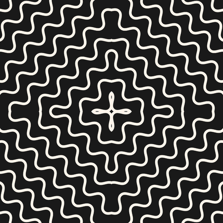 Vector geometric seamless pattern with concentric wavy lines, smooth zigzag shapes. Abstract monochrome background texture, repeat tiles. Dark design for decor, fabric, prints, textile, covers, cloth