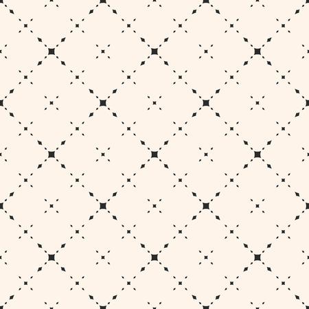 유니버설 미니 멀 벡터 원활한 패턴입니다. 작은 다이아몬드 모양, 마름모꼴, 섬세한 대각선 그리드가있는 미묘한 기하학적 텍스쳐. 현대 추상적 인 배