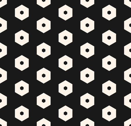 Hexagons vector pattern. Abstract geometric seamless texture with perforated hexagonal shapes. Simple black & white honeycomb background. Stylish dark design for decoration, covers, textile, fabric