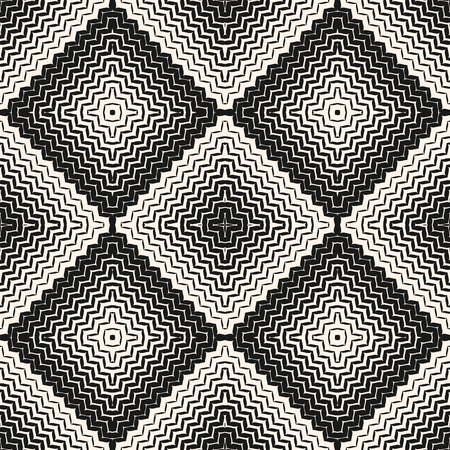 Vector halftone seamless pattern. Diagonal zigzag lines in square form. Stylish abstract monochrome geometric background texture with gradient transition effect. Wavy zig zag stripes, repeat tiles
