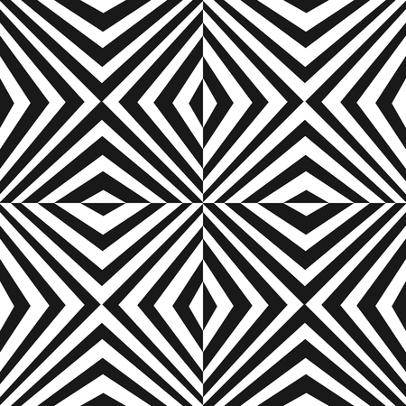 Vector seamless pattern with black and white stripes. Modern texture with crossing diagonal striped lines. Optical illusion effect. Monochrome geometric background, repeat tiles. Pop art style design Illustration