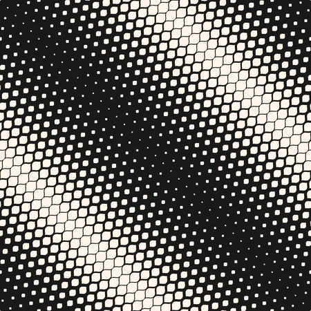 Vector seamless pattern. Monochrome background with halftone effect, diagonal gradient transition. Abstract geometric texture with small rounded shapes, repeat tiles. Stylish contemporary dark design