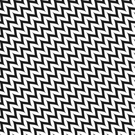Vector Zigzag Chevron Seamless Pattern. Diagonal Curved Wavy Zig Zag Lines. Simple stylish abstract geometric background. Black & white texture. Modern design for decor, fabric, textile, linens, cloth