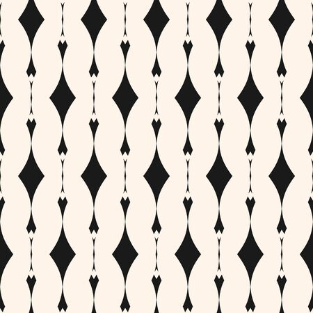 Geometric seamless pattern. Abstract monochrome background with vertical lines, curved shapes, rhombuses. Black and white repeat texture, art deco style. Design for decor, prints, cloth. Stock vector