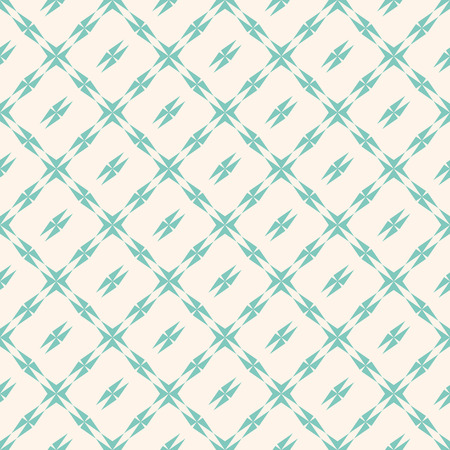 Abstract geometric seamless pattern with square grid, edgy shapes, stars, triangles. Vintage background in retro pastel color palette, aqua green and beige. Repeat ornamental texture. - Stock vector