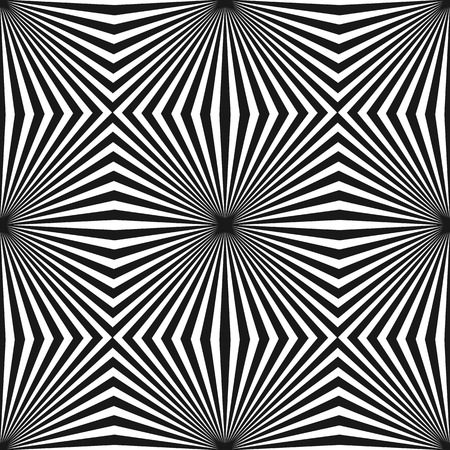 Vector tileable pattern with black & white striped lines. Geometric texture with diagonal stripes in square form. Optical illusion effect, pop art style. Abstract monochrome background. Trendy design