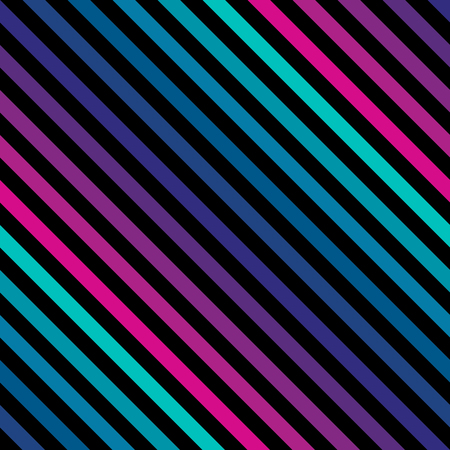Diagonal stripes seamless pattern in bright colors. Retro 80-90's fashion style background. Repeat colorful slanted lines texture. Abstract geometric decorative design template. - Stock vector