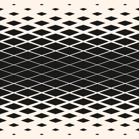 Vector halftone geometric seamless pattern with rhombuses, diamond shapes, grid, lattice. Abstract black and white background texture with gradient transition effect. Trendy design for decor, prints