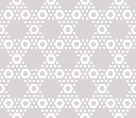 Hexagon texture, vector seamless pattern in soft pastel colors, beige & white. Perforated surface, hexagonal grid. Abstract repeat background. Design element for decoration, prints, paper, covers