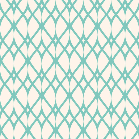 Vintage seamless pattern, thin wavy lines, elegant mesh. Texture of lace, weaving, net, smooth lattice. Subtle geometric background. Aqua green and beige colors. Design for decor, prints. Stock vector