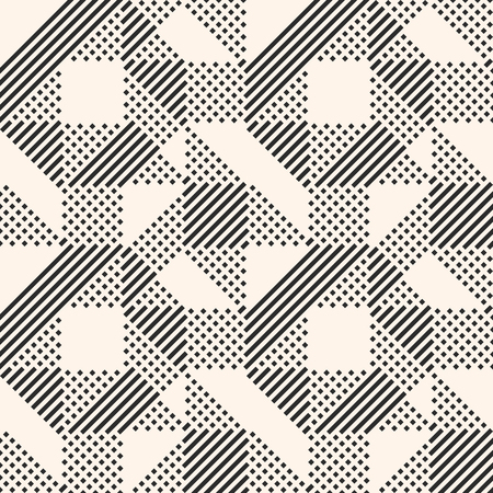 Vector geometric lines pattern. Abstract graphic ornament with stripes and squares. Monochrome urban texture. Modern stylish linear background. Trendy repeat design for decoration, prints, digital