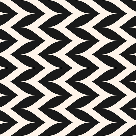 Vector seamless pattern, curly zig zag lines. Simple vertical zigzag stripes texture. Abstract monochrome  background, pop art style. Repeat design for prints, decoration, fabric, furniture, bedding