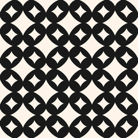 Vector seamless pattern with diamond shapes, different sized curved rhombuses. Simple abstract monochrome geometric background, repeat tiles. Art deco style. Dark design for decor, covers, textile Ilustracja
