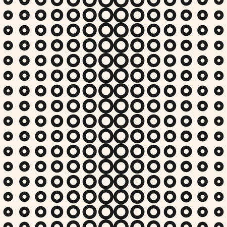 Vector halftone circles seamless pattern. Abstract geometric texture with different sized rings. Monochrome dotted background, gradient transition effect. Design for home decor, textile, pillows Иллюстрация