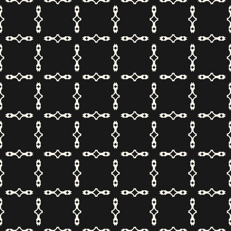 Vector black and white geometric seamless pattern with square grid, lattice, chains, net. Simple ornamental texture. Abstract monochrome background. Repeat graphic design for decoration, prints, cloth 일러스트