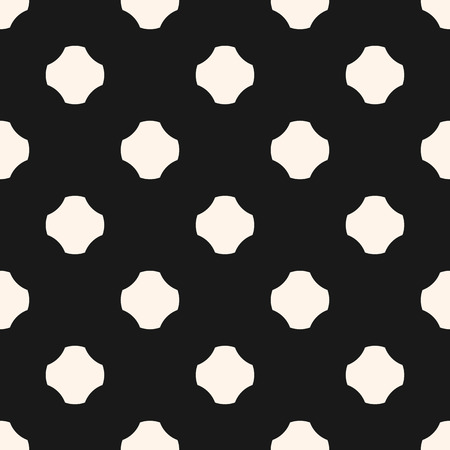 Monochrome vector seamless pattern. Simple abstract minimalist geometric background with big rounded crosses, floral shapes, dots. Black and white repeat texture. Design for decor, textile, fabric Illustration