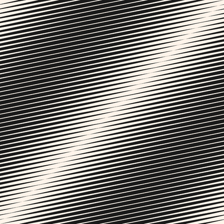 Vector geometric halftone diagonal stripes seamless pattern. Black and white slanted parallel graphic lines. Gradient transition effect texture. Modern funky abstract background. Repeat design element Vettoriali